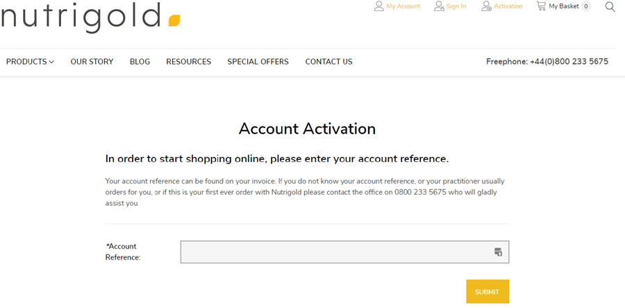 step 1 - enter your account reference